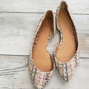 J. Crew Tweed D'Orsay Flats Pointed Toe